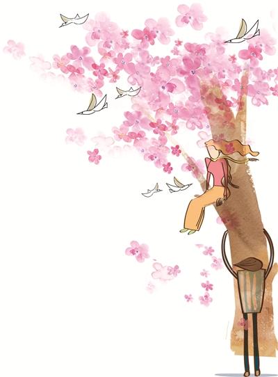 每年春天,梧桐树上开满了花,天空都被染成了淡淡的粉色,穿着长裙的