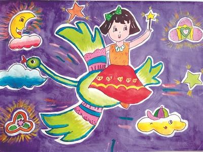《遨游太空》(水粉画) 徐斐然(七岁半) 道北路小学 指导老师:郭倩